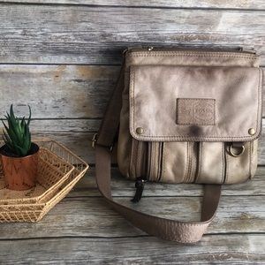 Fossil leather messenger utility bag